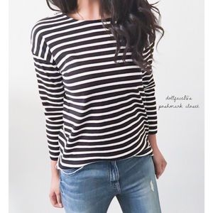 Tops - Stripe Top With Zipper on Shoulder